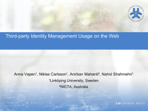 Third-party Identity Management Usage on the Web  ¹Linköping University, Sweden
