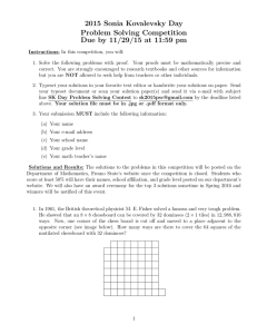 2015 Sonia Kovalevsky Day Problem Solving Competition