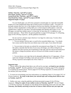 ENGL 200 B Westman Assignment for Persuasive Research Paper (Paper #4)