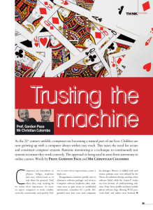 Trusting the machine O Prof. Gordon Pace