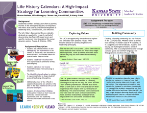 Life History Calendars: A High-Impact Strategy for Learning Communities Sharon Breiner, Mike Finnegan, Chance Lee, Irma O'Dell, & Kerry Priest Assignment Purpose