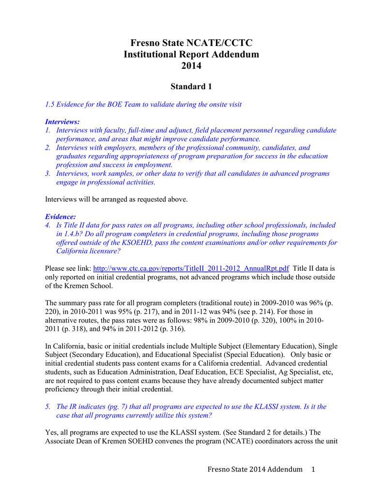 Fresno State NCATE/CCTC Institutional Report Addendum 2014
