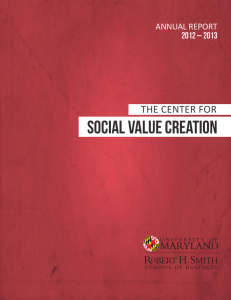 SOCIAL VALUE CREATION THE CENTER FOR ANNUAL REPORT 2012