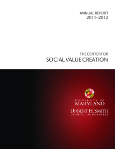 SOCIAL VALUE CREATION ─2012 2011 THE CENTER FOR