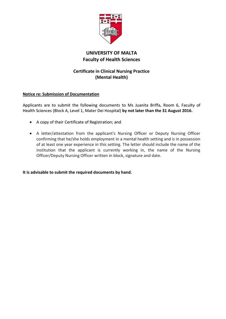 University Of Malta Faculty Of Health Sciences Certificate In
