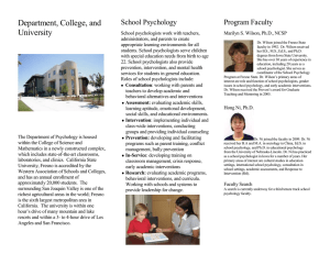 Department, College, and University School Psychology Program Faculty