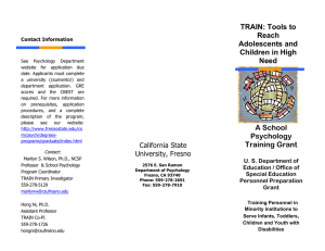 TRAIN: Tools to Reach Adolescents and Children in High