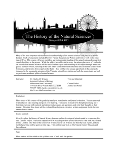 The History of the Natural Sciences  Biology 4813 & 4913