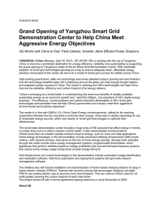 Grand Opening of Yangzhou Smart Grid Aggressive Energy Objectives