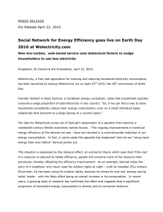 Social Network for Energy Efficiency goes live on Earth Day