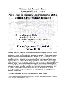 Proteomes in changing environments: global warming and ocean acidification