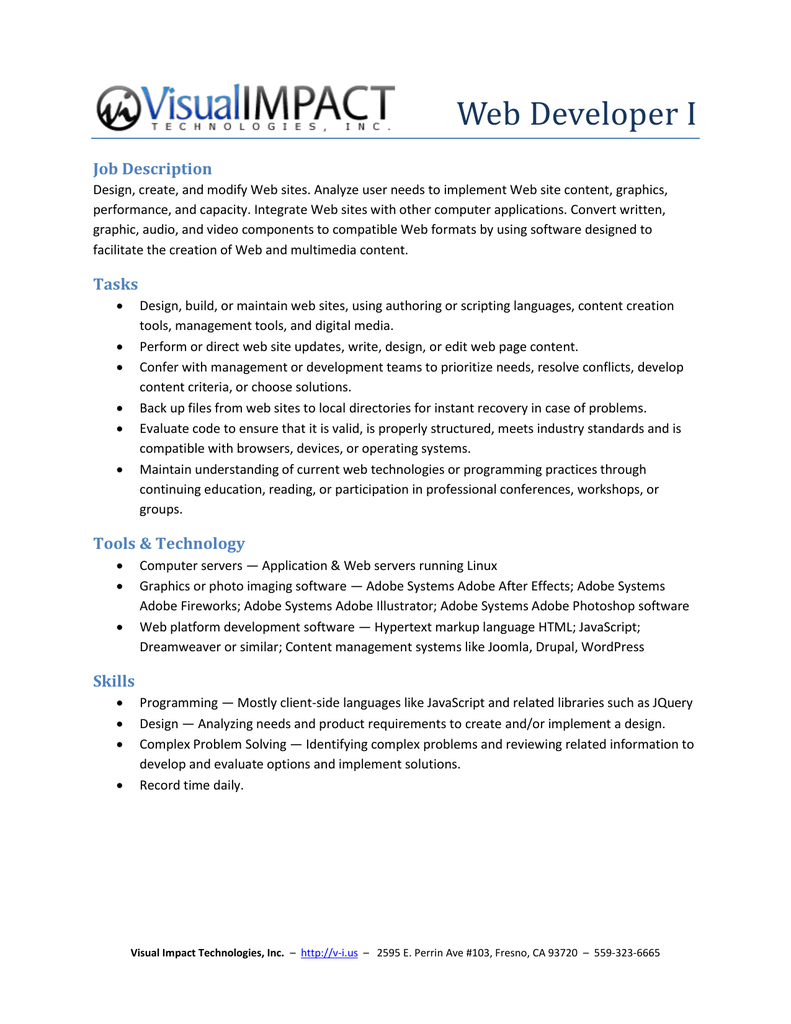 Web Developer I Job Description