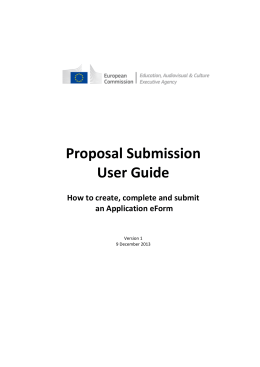 Proposal Submission User Guide  How to create, complete and submit