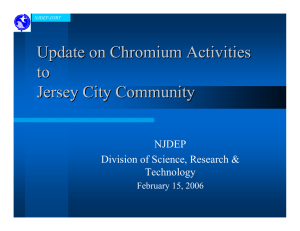 Update on Chromium Activities to Jersey City Community NJDEP