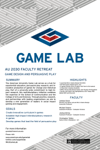 AU 2030 FACULTY RETREAT  GAME DESIGN AND PERSUASIVE PLAY SUMMARY
