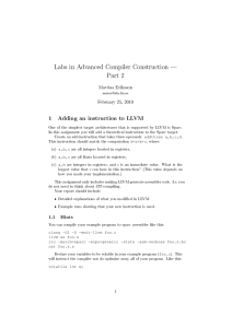 Labs in Advanced Compiler Construction Part 2 Mattias Eriksson
