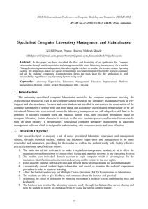 Specialized Computer Laboratory Management and Maintainance Abstract. ,