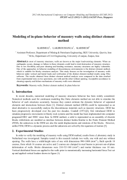 Modeling of in-plane behavior of masonry walls using distinct element method KARIMI.G ,