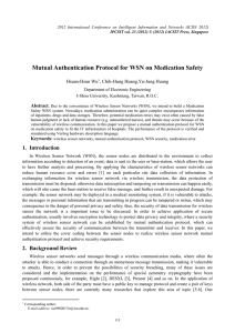 Mutual Authentication Protocol for WSN on Medication Safety Hsuan-Hsun Wu Abstract