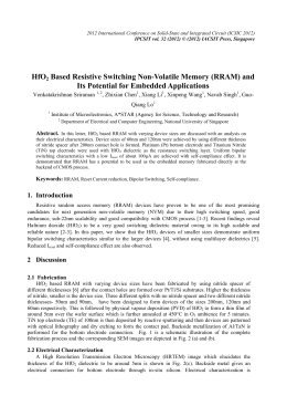 HfO Based Resistive Switching Non-Volatile Memory (RRAM) and