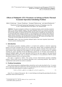 Effects of Multipath ATS's Parameter on Solving an Hydro-Thermal