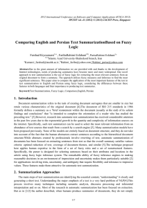 Comparing English and Persian Text SummarizationBased on Fuzzy Logic Farshad Kiyoumarsi