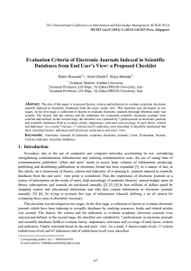 Evaluation Criteria of Electronic Journals Indexed in Scientific