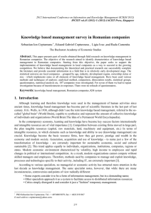 Knowledge based management survey in Romanian companies Sebastian Ion Ceptureanu