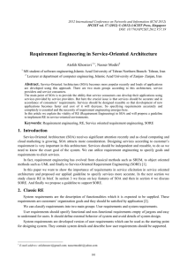 Requirement Engineering in Service-Oriented Architecture Atefeh Khosravi , Nasser Modiri