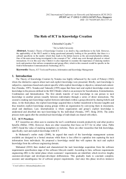 The Role of ICT in Knowledge Creation Christobal Cayaba  Abstract.