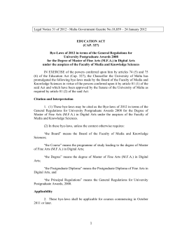 Legal Notice 31 of 2012 - Malta Government Gazette No.18,859 –...  EDUCATION ACT (CAP. 327)
