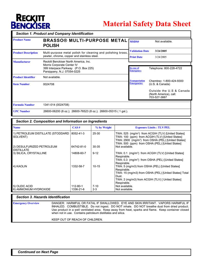 Material Safety Data Sheet Brasso Multi Purpose Metal Polish