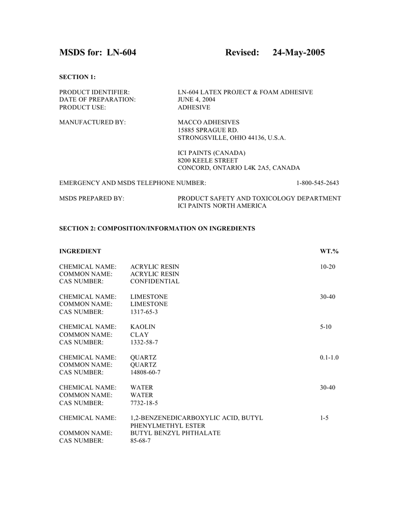 MSDS for: LN-604 Revised: 24-May-2005