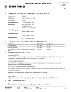 MATERIAL SAFETY DATA SHEET 1 CHEMICAL PRODUCT & COMPANY IDENTIFICATION