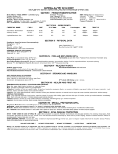 MATERIAL SAFETY DATA SHEET SECTION I · PRODUCT IDENTIFICATION