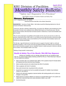 Monthly Safety Bulletin KSU Division of Facilities  ""