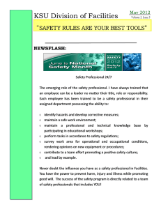 "KSU Division of Facilities "" SAFETY RULES ARE YOUR BEST TOOLS"""