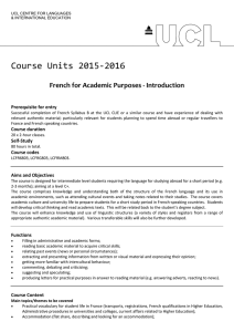 Course Units 2015-2016 French for Academic Purposes - Introduction Prerequisite for entry