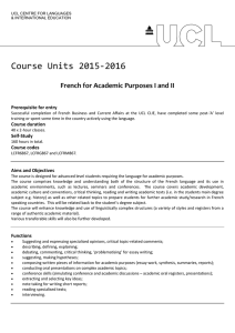 Course Units 2015-2016 French for Academic Purposes I and II