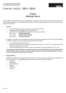 Course Units 2015-2016 Project: Marking Criteria