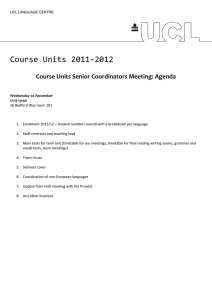 Course Units 2011‐2012  Course Units Senior Coordinators Meeting: Agenda