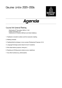 Agenda Course Units 2005‐2006 Course Unit General Meeting