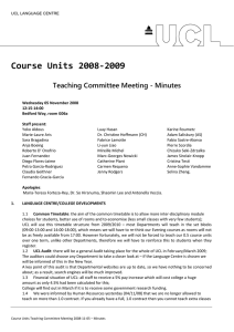 Course Units 2008‐2009  Teaching Committee Meeting - Minutes