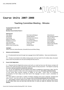 Course Units 2007‐2008  Teaching Committee Meeting - Minutes