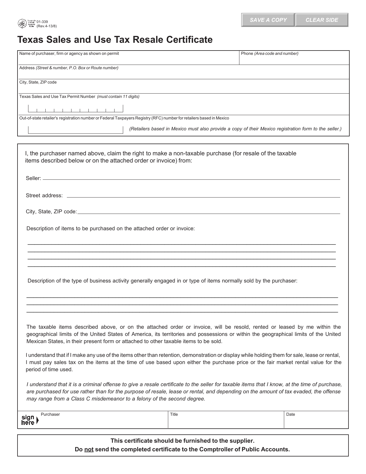 Texas Sales And Use Tax Exemption Certificate Form 01 339 Ibov