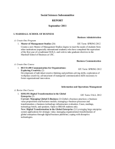 Social Sciences Subcommittee REPORT September 2011