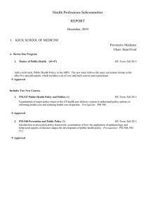 Health Professions Subcommittee  REPORT December, 2010