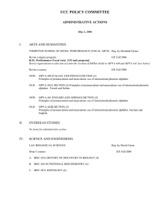 UCC POLICY COMMITTEE ADMINISTRATIVE ACTIONS I. ARTS AND HUMANITIES