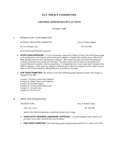 UCC POLICY COMMITTEE AMENDED ADMINISTRATIVE ACTIONS I.