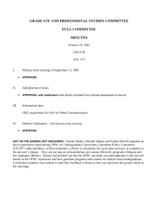 GRADUATE AND PROFESSIONAL STUDIES COMMITTEE  FULL COMMITTEE MINUTES